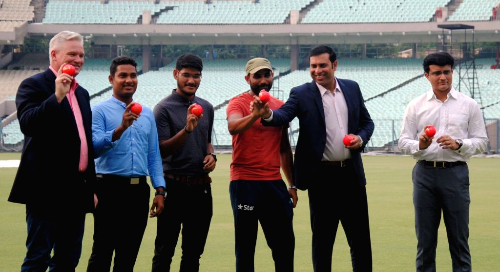 Former cricketers Sourav Ganguly, V. V. S. Laxman, and Dean Jones with Pink Balls during a panel discussion in Kolkata, on June 16, 2016. - Sourav Ganguly