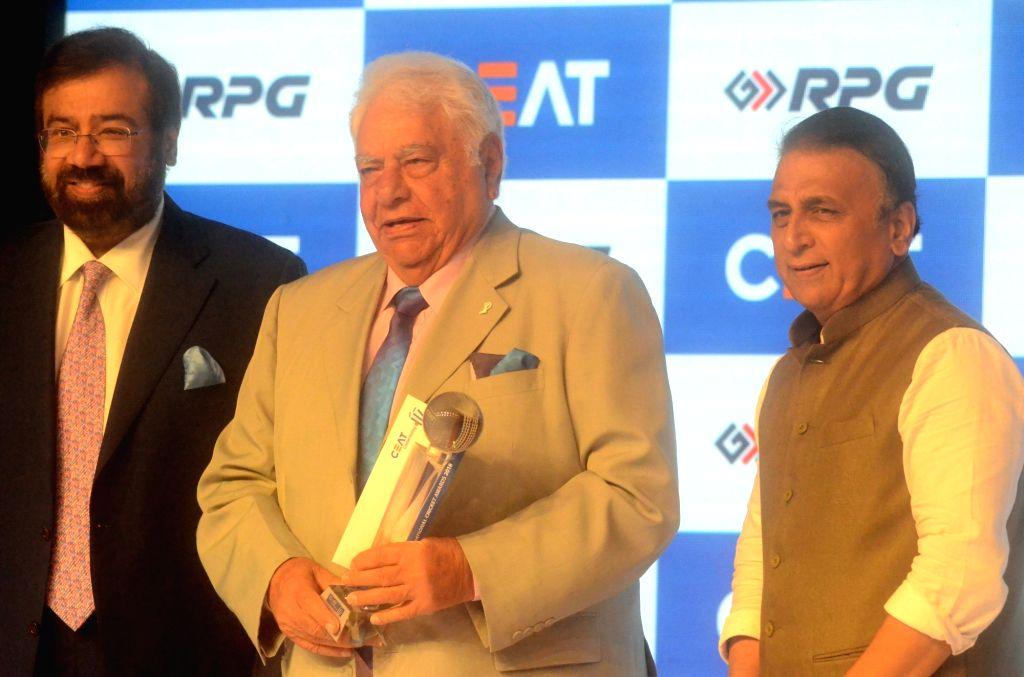 Former cricketers Sunil Gavaskar and Farokh Engineer during Ceat cricket rating award 2017-18, in Mumbai on May 28, 2018.