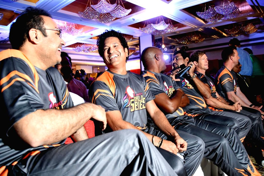 Former cricketers Virendra Sehwag, Sachin Tendulkar, Brian Lara, Tillakaratne Dilshan, Jonty Rhodes and Brett Lee at the launch of 'Road Safety World Series' in Mumbai on Oct 17, 2019. - Sachin Tendulkar