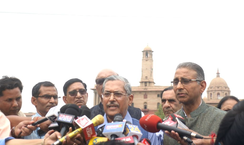 Former Delhi Police Commissioner R.S. Gupta talks to media persons after submitting a memorandum to President Ram Nath Kovind regarding the Election Commission of India's Model Code of ... - Code, S. Gupta and Nath Kovind