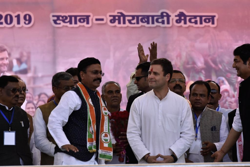 Former Director General of Police (DGP) Jharkhand Rajeev Kumar joins Congress in presence of party president Rahul Gandhi in Ranchi on March 2, 2019. - Jharkhand Rajeev Kumar and Rahul Gandhi