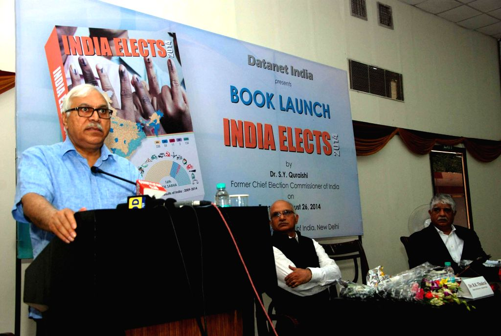 Former election commissioner S.Y. Quraishi addresses during launch of his book `India Elects` in New Delhi on Aug 26, 2014.