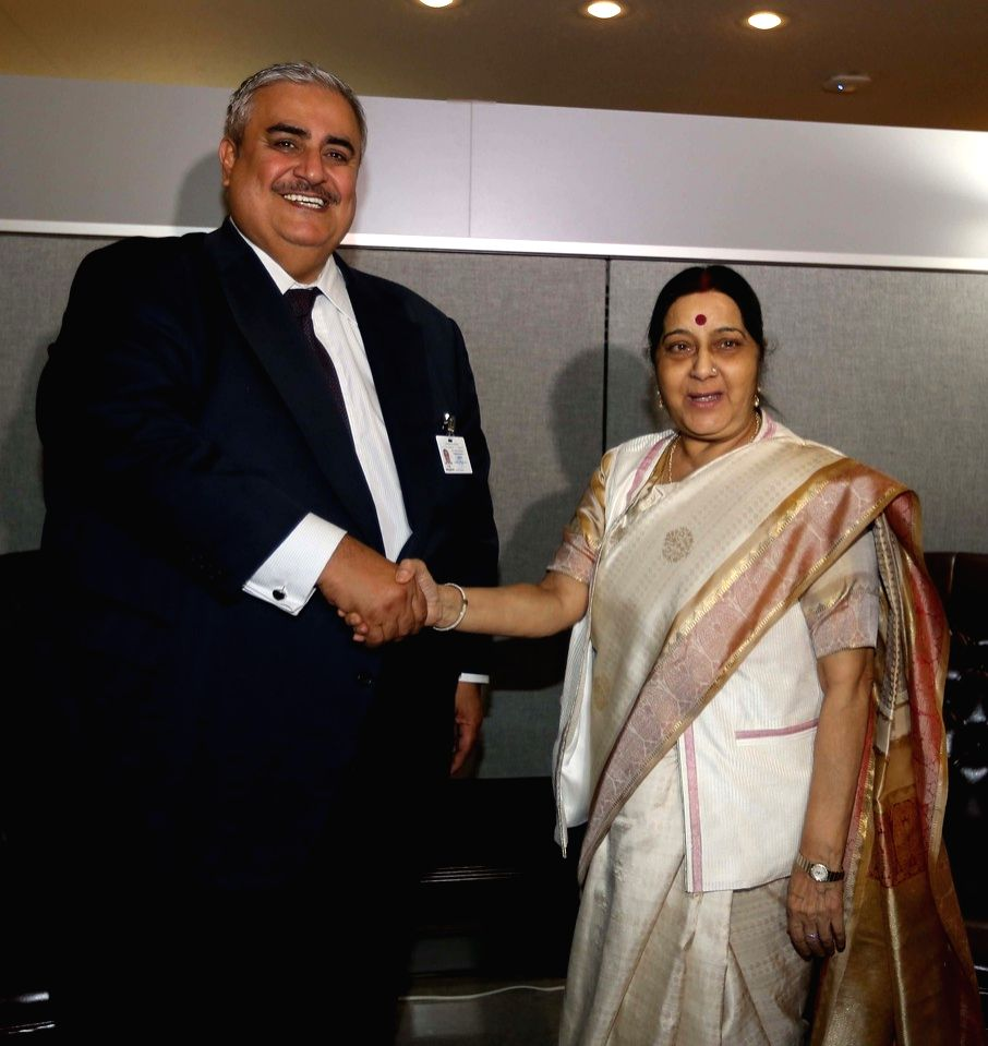 Former External Affairs Minister Sushma Swaraj with world leaders in United Nations in NY. - Sushma Swaraj