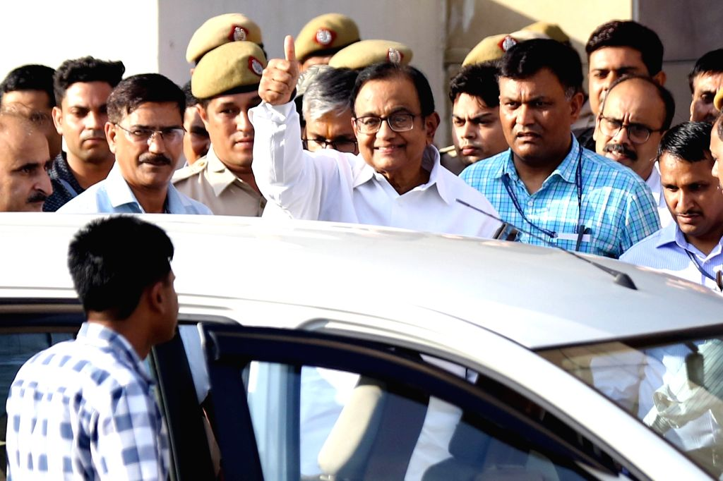 Former Finance Minister P. Chidambaram at the Rouse Avenue court complex in New Delhi on Aug 26, 2019. The court on Monday extended the CBI remand of the Congress leader in the INX media ... - P. Chidambaram