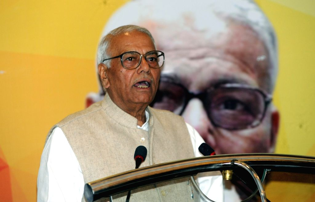 "Former Finance Minister Yashwant Sinha addresses during a Panel Discussion and Interactive Session on ""Union Budget 2018-19"" in Kolkata on Feb 6, 2018. - Yashwant Sinha"