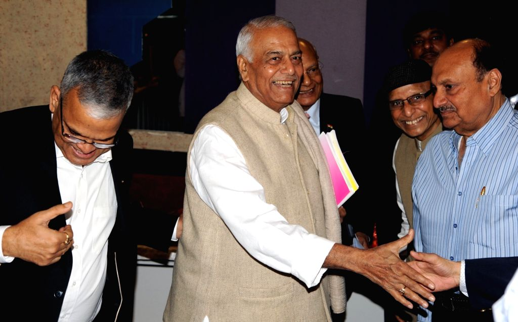 "Former Finance Minister Yashwant Sinha during a Panel Discussion and Interactive Session on ""Union Budget 2018-19"" in Kolkata on Feb 6, 2018. - Yashwant Sinha"