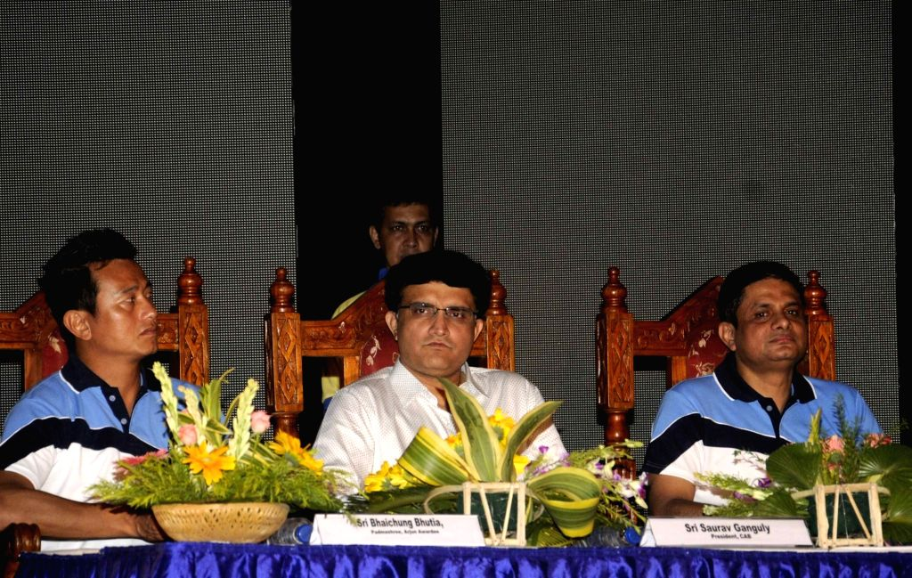 Former footballer  Baichung Bhutia and former cricketer Sourav Ganguly during an awareness programme organised on International Day against Drug Abuse and Illicit Trafficking in Kolkata, on ... - Sourav Ganguly