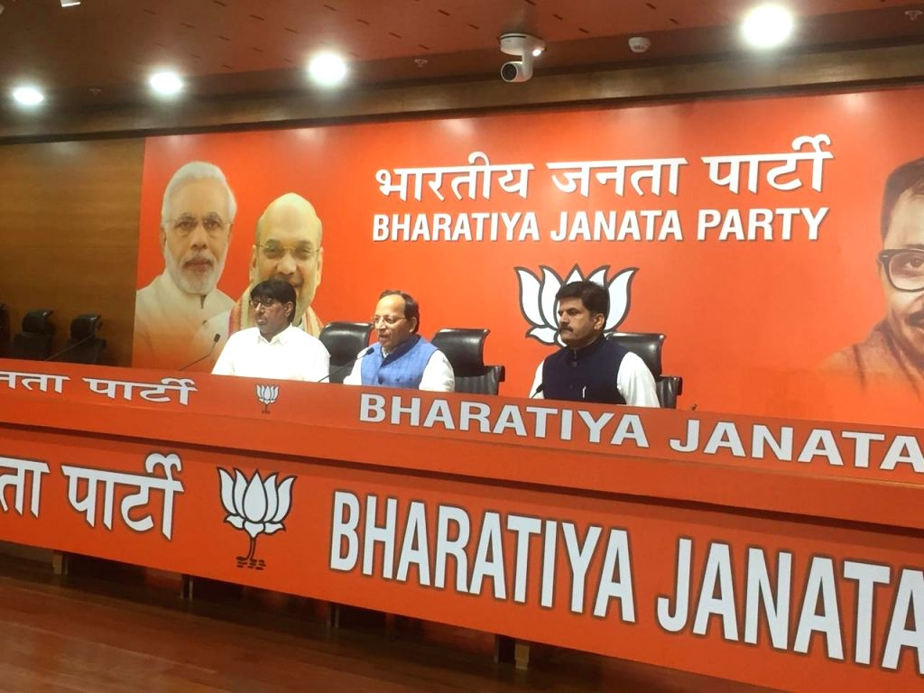 Former Haryana Minister and three-time MLA Kartar Singh Bhadana left the BSP and joined the BJP at the party's headquarters, in New Delhi on Oct 18, 2019. - Kartar Singh Bhadana