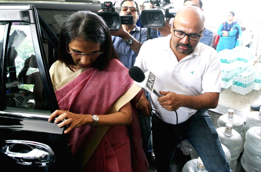 Former ICICI Bank chief Chanda Kochhar arrives to appear before the Enforcement Directorate (ED) for questioning in connection with the Videocon loan case, in New Delhi on May 13, 2019.