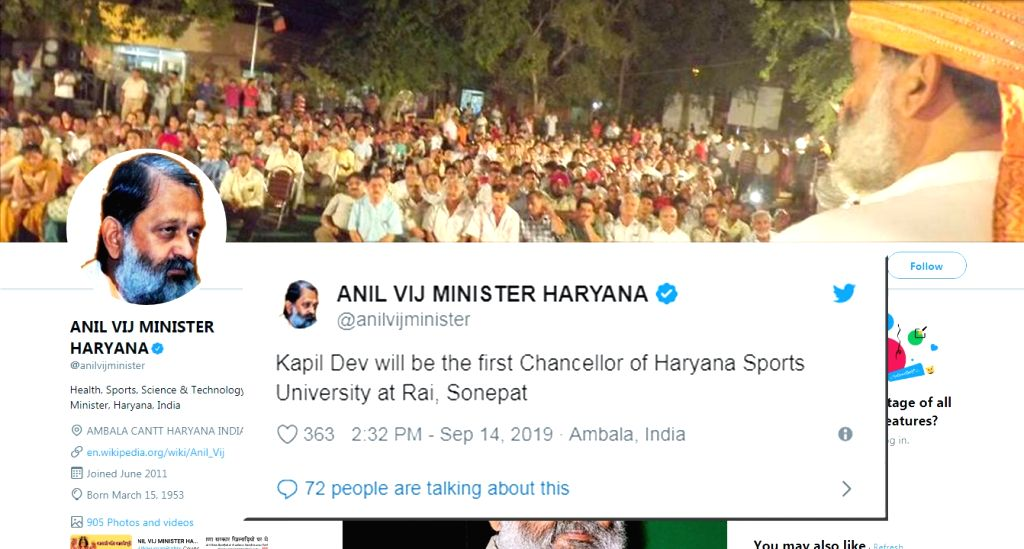 Former India captain Kapil Dev was announced as the first Chancellor of Haryanas Sports University in Rai town of Sonepat district on Saturday. His appointment was announced by state Youth and Sports Minister Anil Vij in a tweet. - Kapil Dev