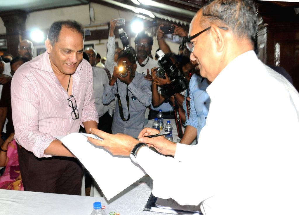 Former India captain Mohammad Azharuddin celebrates after he was elected as the President of Hyderabad Cricket Association (HCA) in Hyderabad on Sep 27, 2019. - Mohammad Azharuddin