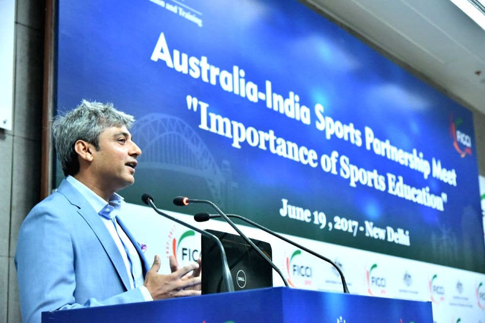 "Former India cricketer Ajay Jadeja addresses during ""Australia-India Sports Partnership Meet"" in New Delhi on June 19, 2017. - Ajay Jadeja"