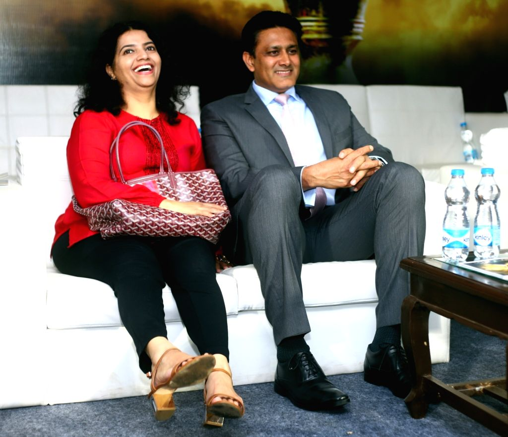 Former India cricketer Anil Kumble along with his wife Chethana Ramatheertha during a Men's Hockey World Cup 2018 between France and Argentina at Kalinga Stadium in Bhubaneswar on Dec 6, ...