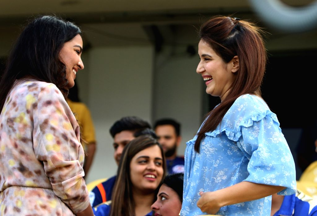 Former India cricketer Zaheer Khan's wife Sagarika Ghatge (R) during the Final match of IPL 2019 between Chennai Super Kings and Mumbai Indians at Rajiv Gandhi International Stadium in ... - Zaheer Khan