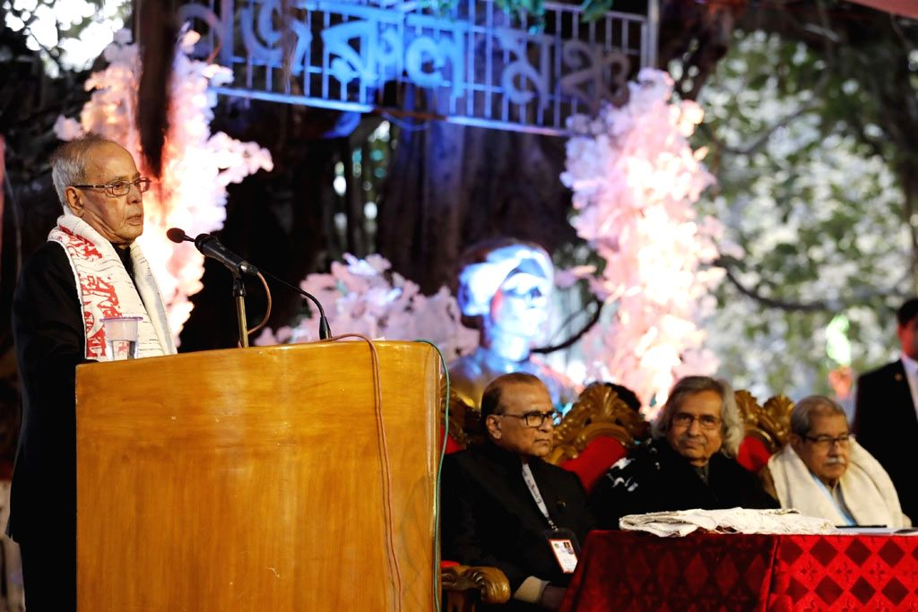 Former India President Pranab Mukherjee addresses at International Bangla Literature Conference in Dhaka on Jan 15, 2018. - Pranab Mukherjee