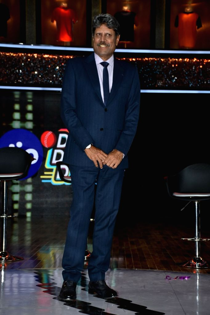 """Former India skipper Kapil Dev at the launch of cricket and comedy show """"Dhan Dhana Dhan"""" in Mumbai on April 4, 2018. - Kapil Dev"""