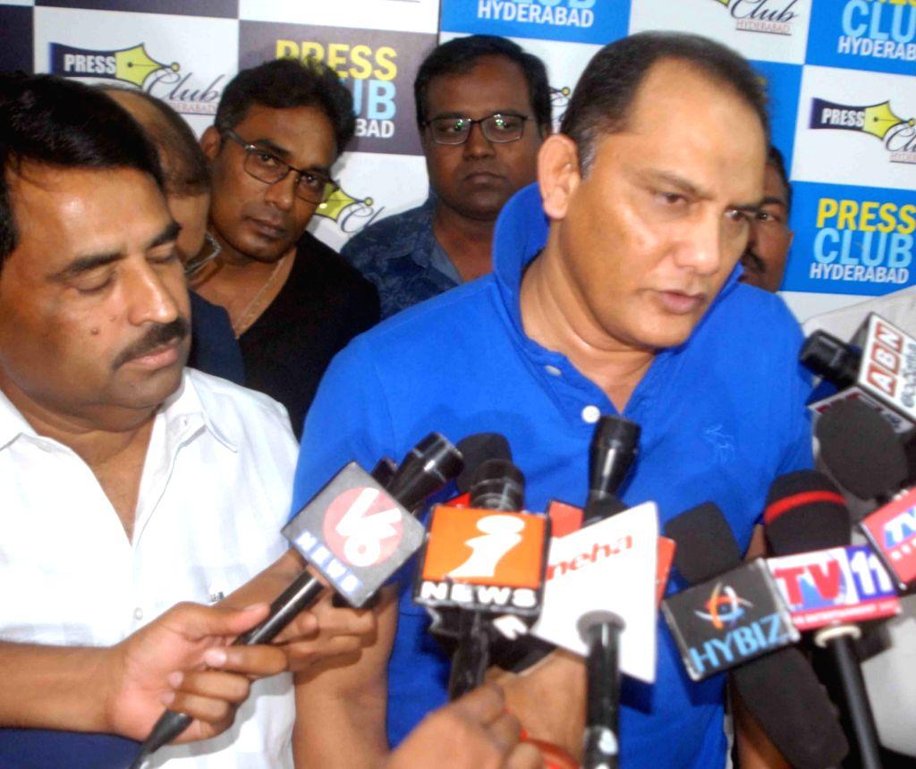 Former India skipper Mohammad Azharuddin talks to press in Hyderabad on Aug 19, 2017. - Azharuddin