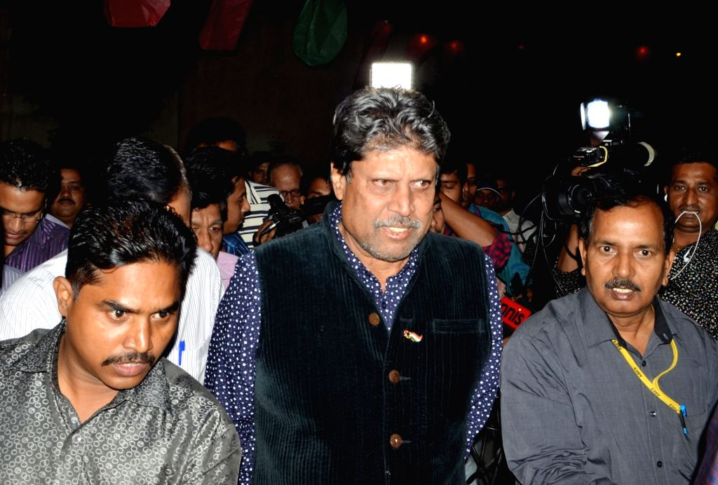 Former Indian cricket player Kapil Dev during a programme in Ghaziabad, on Oct 31, 2015.