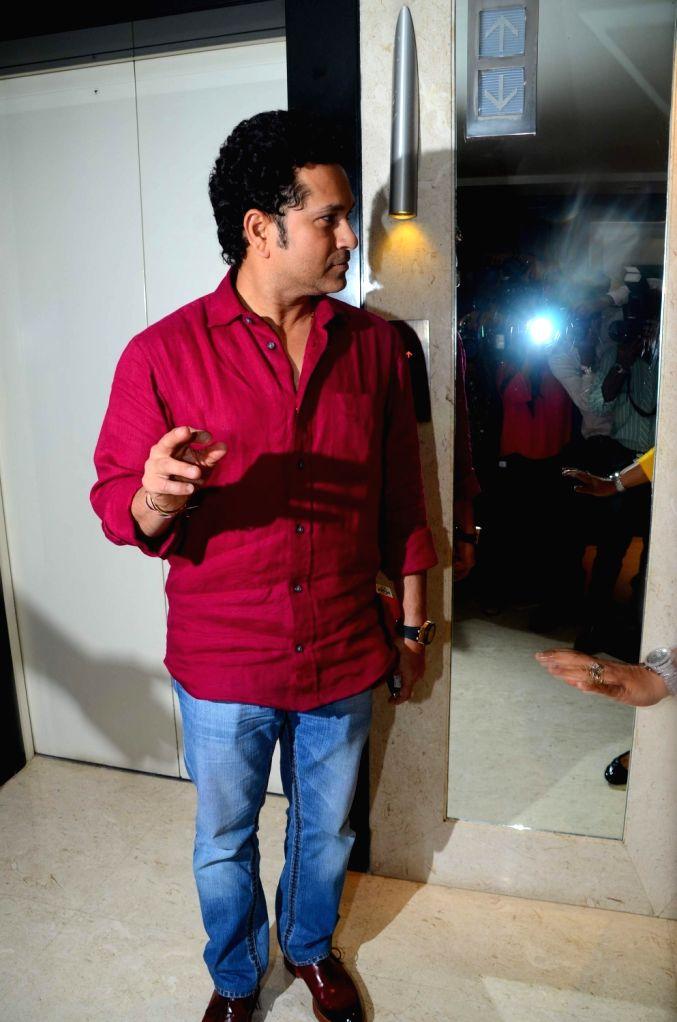 Former Indian cricket player Sachin Tendulkar during the media interaction of film Sachin: A Million Dreams in Mumbai on May 12, 2017. - Sachin Tendulkar