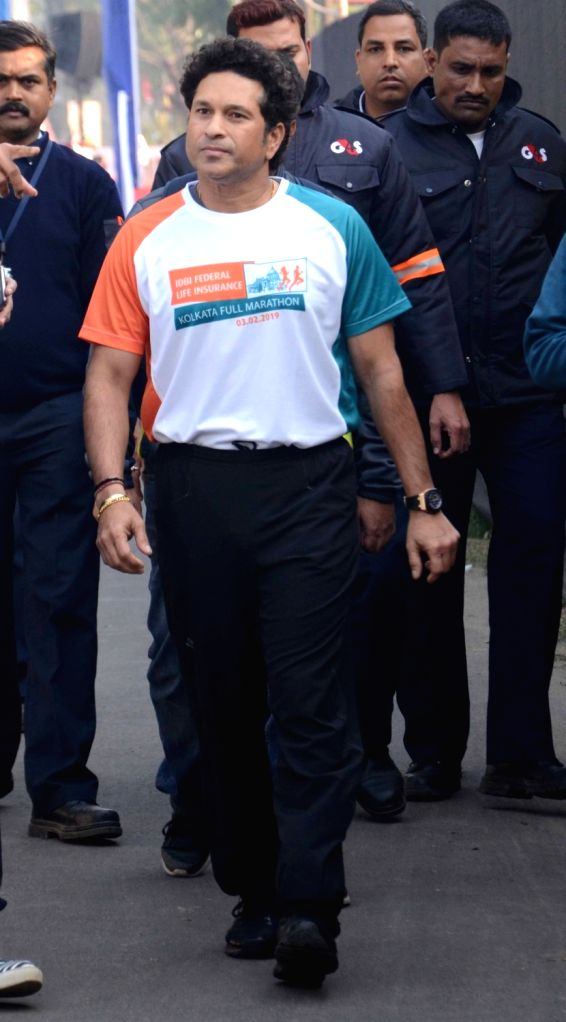 Former Indian cricketer Sachin Tendulkar during the flagging off ceremony of IDBI Federal Life Insurance Kolkata Full Marathon, on Feb 3, 2019. - Sachin Tendulkar