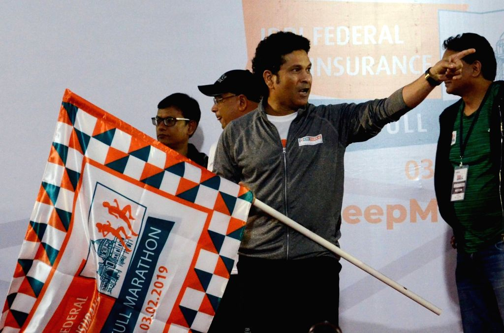 Former Indian cricketer Sachin Tendulkar during the flagging off ceremony of IDBI Federal Life Insurance Kolkata Full Marathon, on Feb 3, 2019. - Sachin Tendulkar