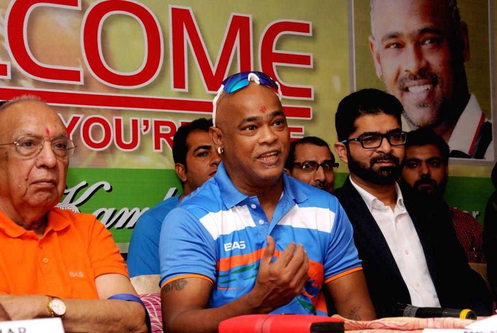 Former Indian cricketer Vinod Kambli addresses a press conference regarding Central Premier League (CPL) T20, in Amritsar on Sept 8, 2018.