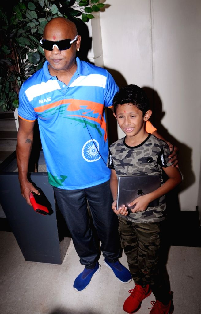 Former Indian cricketer Vinod Kambli with his son Jesus Christiano at a press conference regarding Central Premier League (CPL) T20, in Amritsar on Sept 8, 2018.