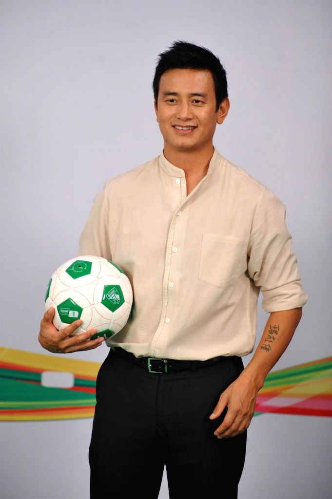 Former Indian football captain Baichung Bhutia during the Castrol Activ Cling on to Football campaign in Mumbai on July 5, 2014. - Baichung Bhutia