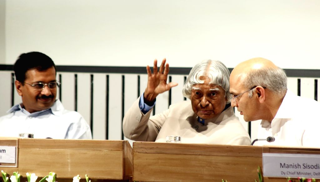 Image result for Kejriwal and Sisodia pay tribute to former President Abdul Kalam