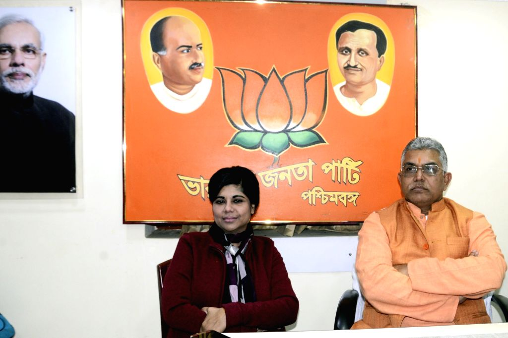 Former IPS officer Bharati Ghosh who recently joined BJP in West Bengal meets West Bengal BJP President Dilip Ghosh at BJP state head quarter in Kolkata on March 5, 2019. - Bharati Ghosh and Dilip Ghosh