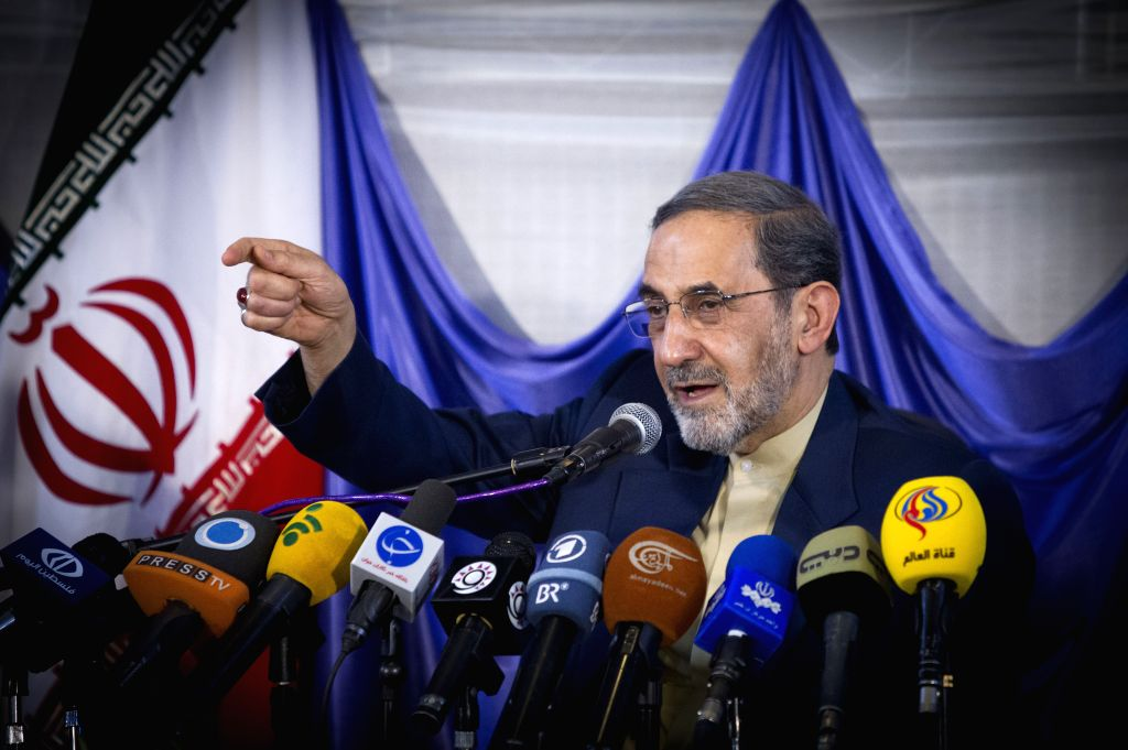 :Former Iranian Foreign Minister and conservative presidential candidate Ali Akbar Velayati speaks to his supporters during a campaign rally in northern Tehran, ...