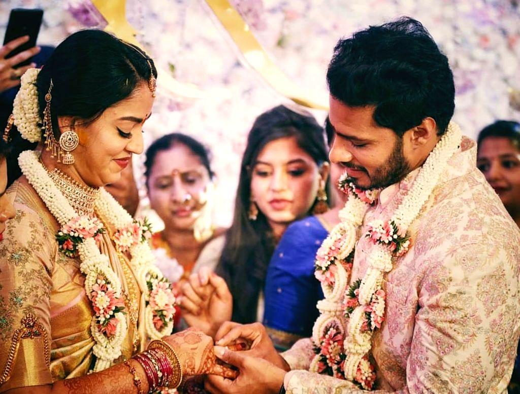Former Karnataka Chief Minister H. D. Kumaraswamy's son Nikhil got engaged to Revathi at the Taj West End in Bengaluru on Feb 10, 2020. - H. D. Kumaraswam