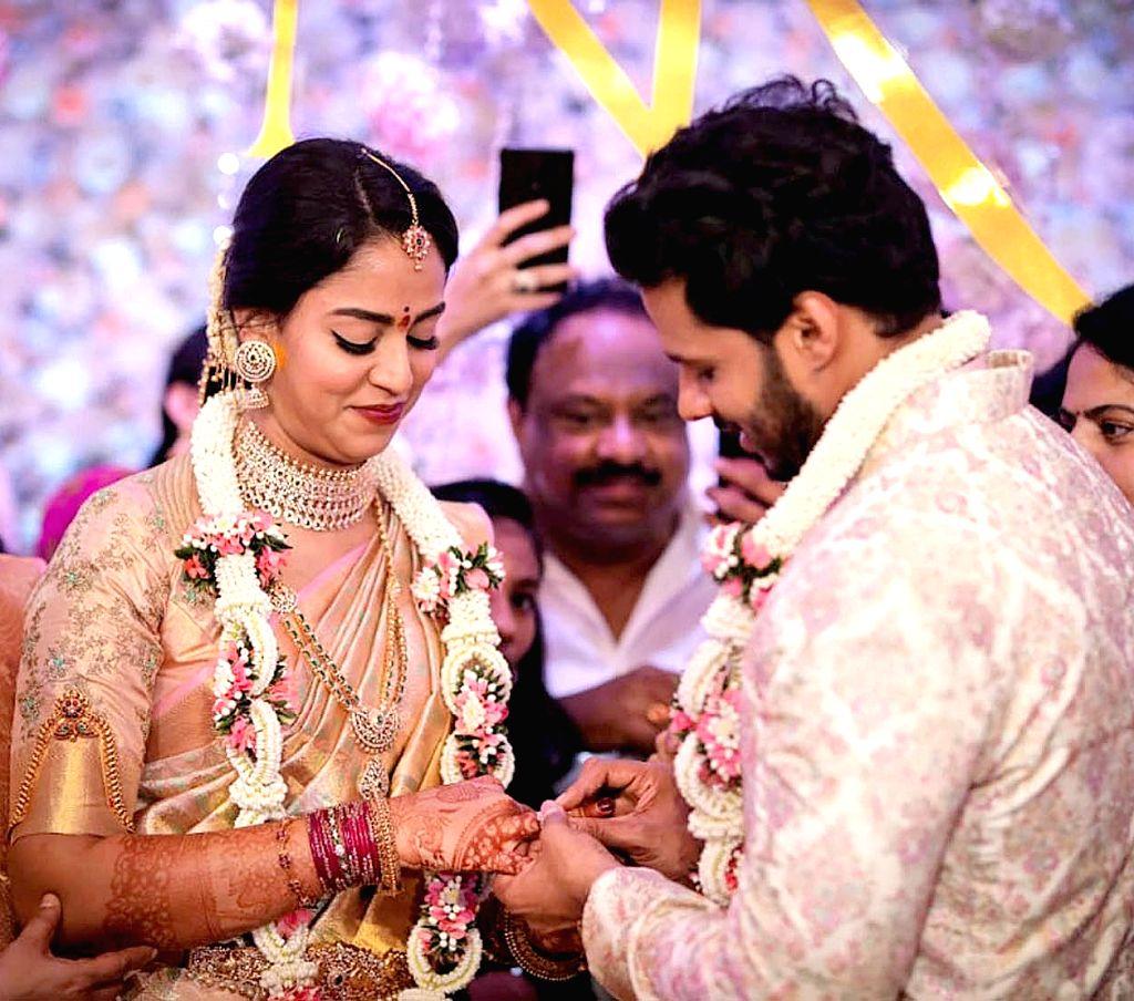 Former Karnataka Chief Minister H. D. Kumaraswamy's son Nikhil and his fiancee Revathi during their engagement ceremony at the Taj West End in Bengaluru on Feb 10, 2020. - H. D. Kumaraswam