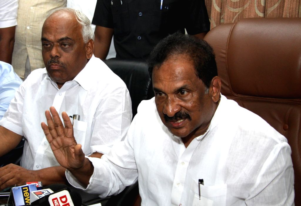 Former Karnataka Minister KJ George addresses a press conference after submitting his resignation to Chief Minister Siddaramaiah for his alleged involvement in the suicide of DYSP Ganapati ... - K