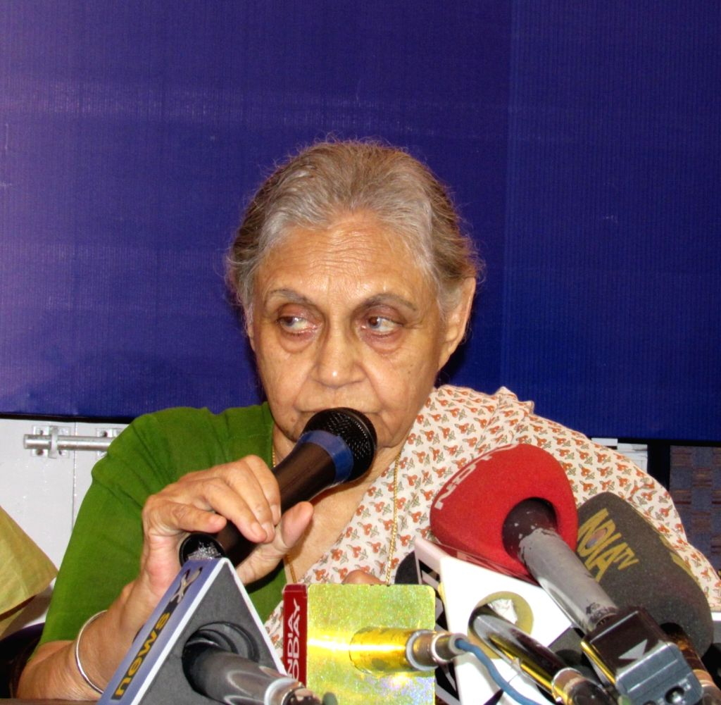 Former Kerala Governor and Congress leader Sheila Dikshit addresses a press conference in New Delhi on July 5, 2016. - Sheila Dikshit