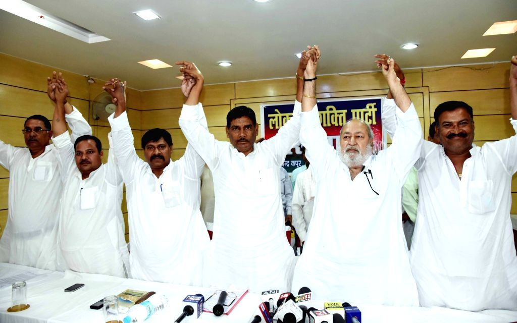 Former Lok Janshakti Party (LJP) leader Satyanand Sharma at a press conference to announce his new party LJP (Secular) after resigning from LJP, in Patna on June 13, 2019. BJP ally and NDA ... - Ram Vilas Paswan and Satyanand Sharma