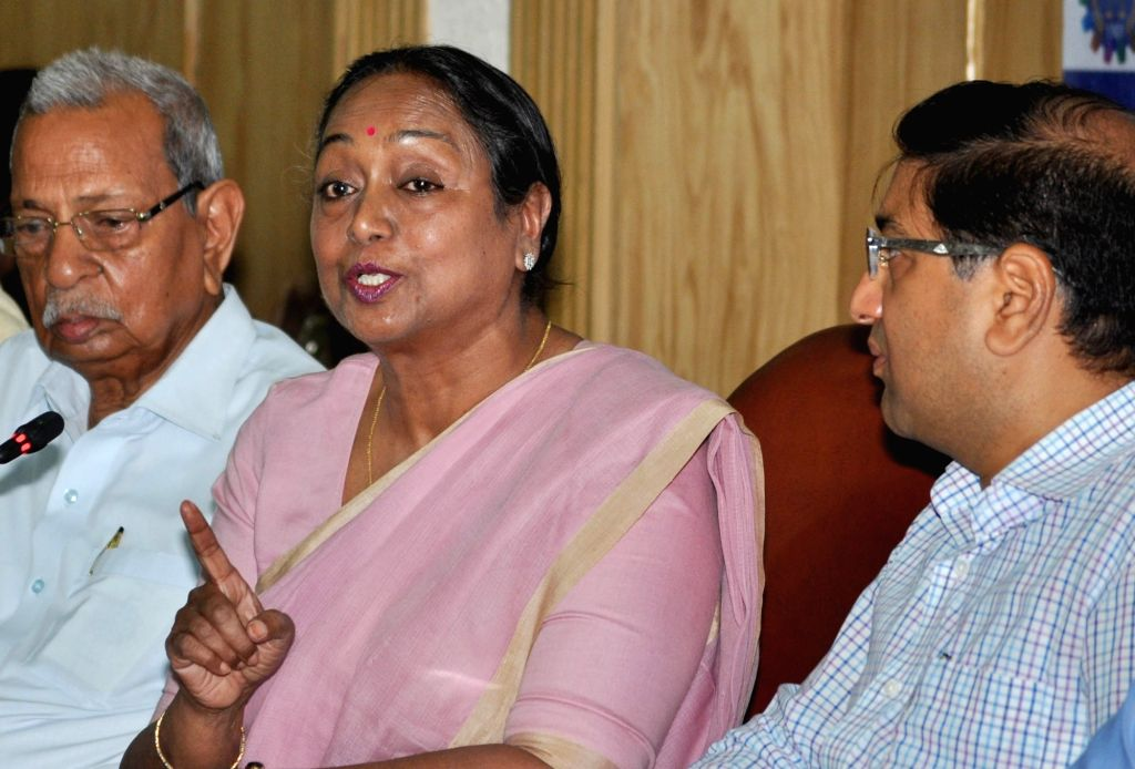 """Former Lok Sabha Speaker Meira Kumar and MCCI president, Hemant Bangur during interactive session on """"Challenges of Parliamentary Democracy in India"""" at Merchant Chamber of ... - Meira Kumar"""