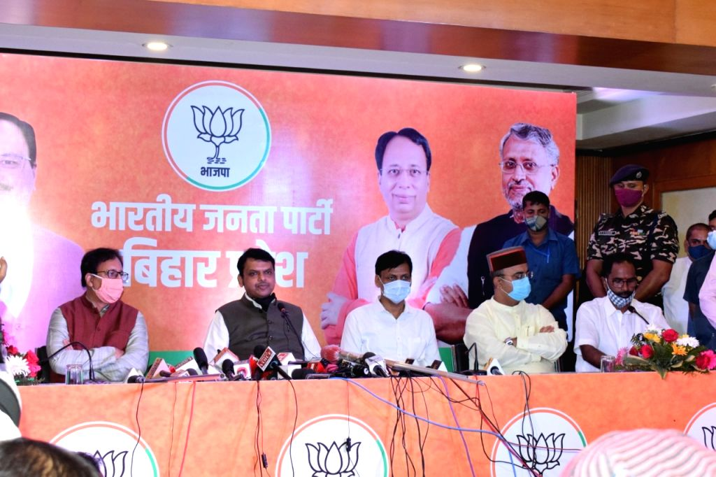 Former Maharashtra Chief Minister and BJP's Bihar election in-charge Devendra Fadnavis addresses a press conference at the state party headquarters, in Patna on Sep 11, 2020.