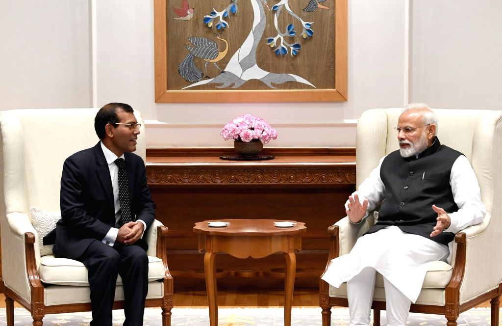 Former Maldivian President Mohamed Nasheed meets Prime Minister Narendra Modi, in New Delhi on Feb 15, 2019. - Narendra Modi