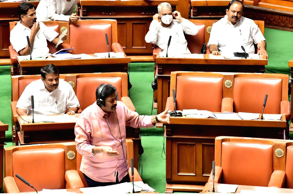 Former Member of the Karnataka Legislative Assembly Anand Singh at Assembly session at Vidhan Soudha, in Bengaluru on Thursday 19 March 2020.