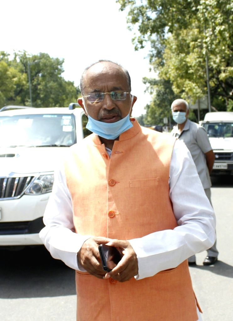 Former Minister and BJP MP Vijay Goel arrives to pay tributes to Former President Pranab Mukherjee who passed away at the Army Research and Referral Hospital on Monday; at his 10 Rajaji ... - Pranab Mukherjee
