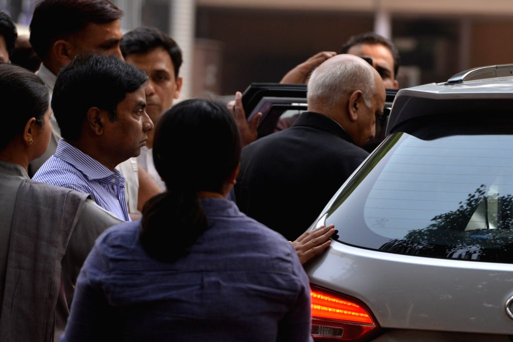 Former Minister M.J. Akbar at a Delhi Court on Oct 31, 2018. The court recorded Akbar's statement as a complainant witness in a criminal defamation suit filed by him against journalist ... - M.