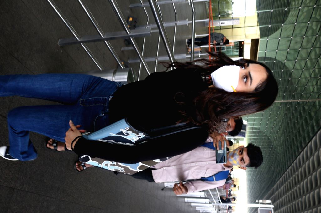 Former Miss World and actress Manushi Chillar seen at the Chhatrapati Shivaji Maharaj International Airport in Mumbai on Dec 4, 2020. - Manushi Chillar