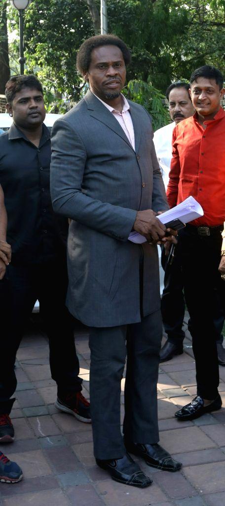 Former Nigerian footballer Emeka Ezeugo ahead of a press conference, in Kolkata on April 3, 2018.