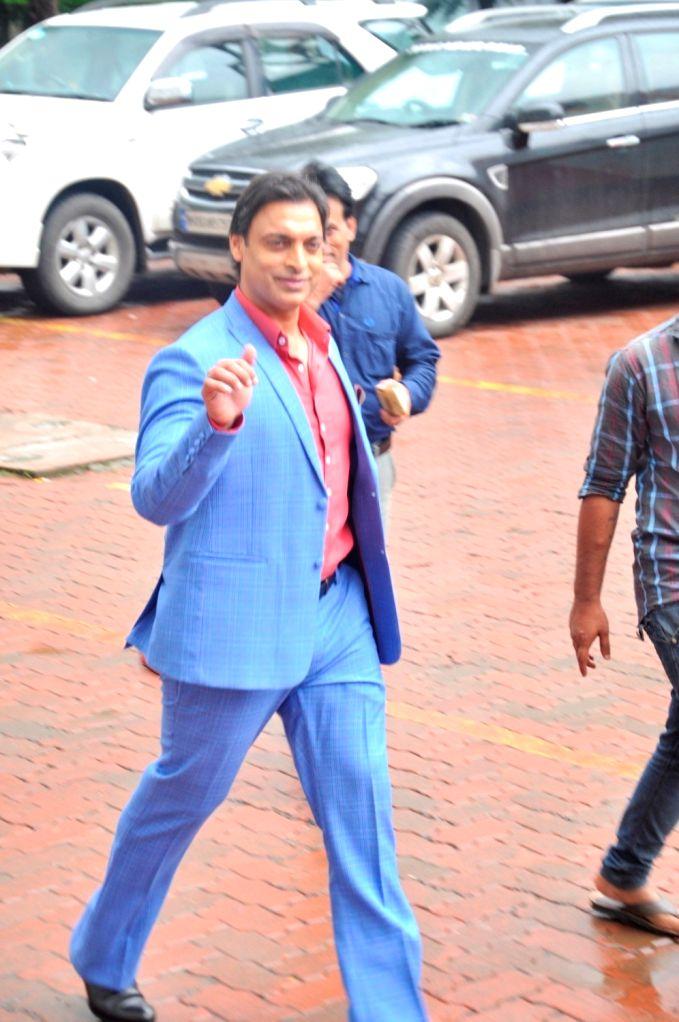 Former Pakistani cricketer Shoaib Akhtar during the promo shoot of Life Ok new show Mazak Mazak Me in Mumbai on July 11, 2016.