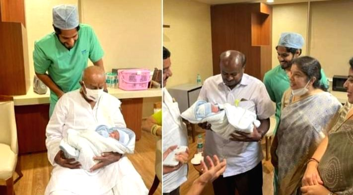Former PM Deve Gowda becomes great grandfather story