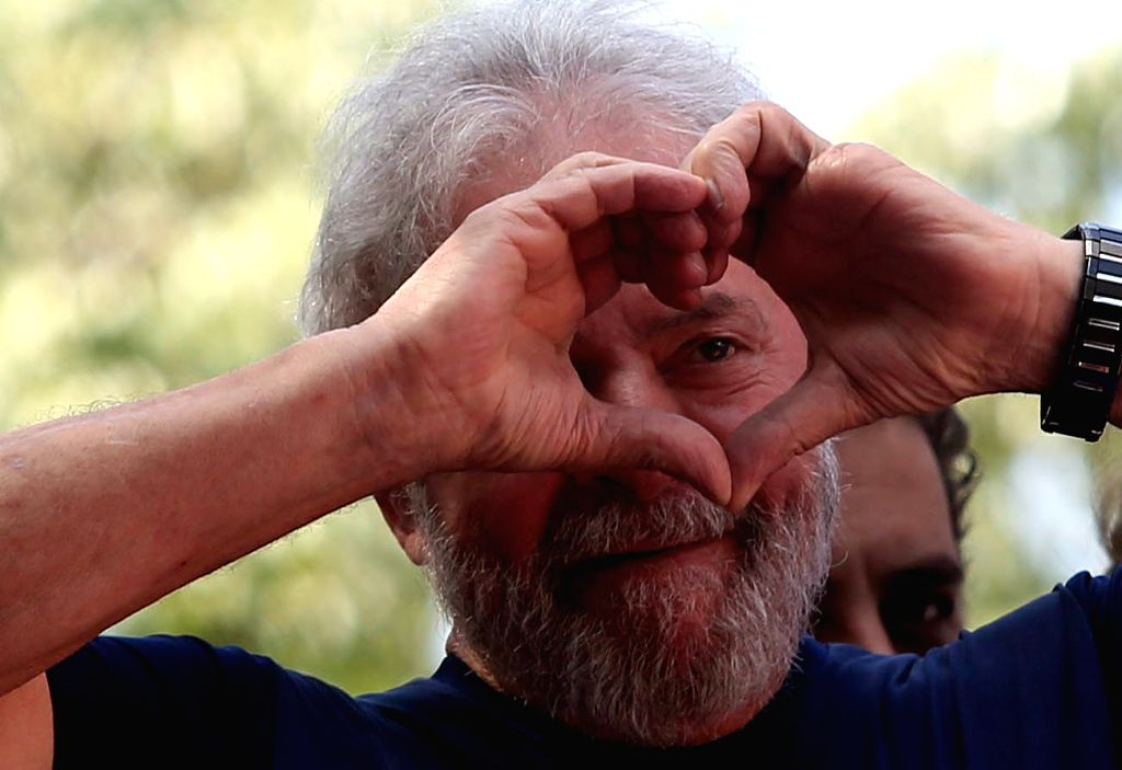 Former President of Brazil Luiz Inacio Lula da Silva reacts during a mass in memory of his wife Marisa Leticia in front of the headquarters of the ...
