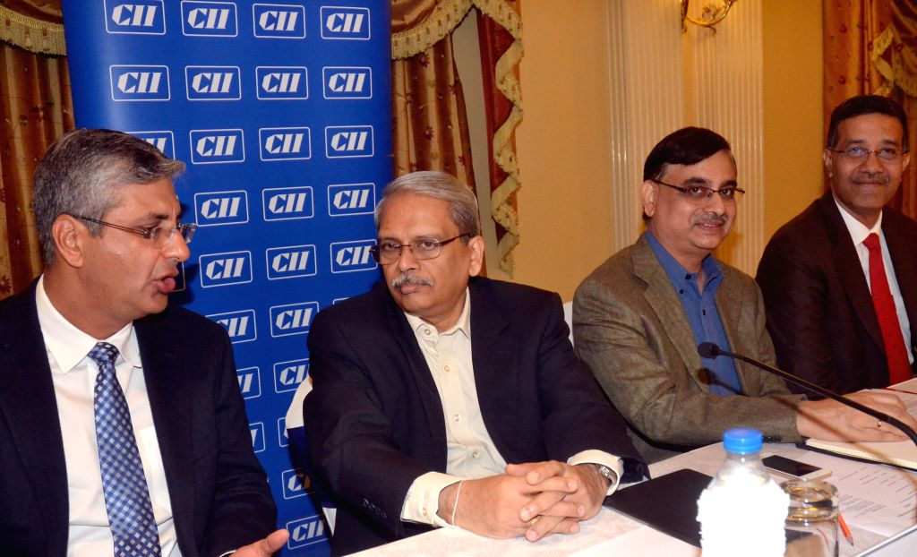 Former president of CII, Kris Gopalakrishnan with CII Karnataka State Council Chairman Sandeep Maini and Director and Head of CII Karnataka GK Moinuddin during a press conference in Bangalore on Aug .