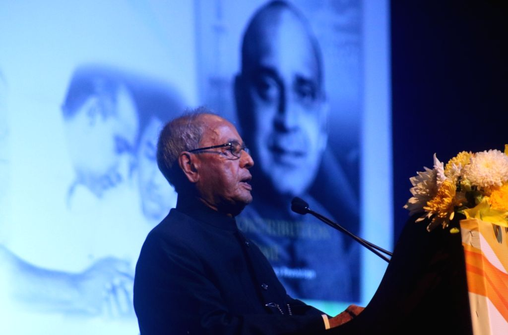 Former President Pranab Mukherjee addresses during the launch of M.S. Sanjeevi Rao's book 'A Contribution in Time - India's Electronics revolution' in New Delhi on Feb 8, 2018. - Pranab Mukherjee and S. Sanjeevi Rao