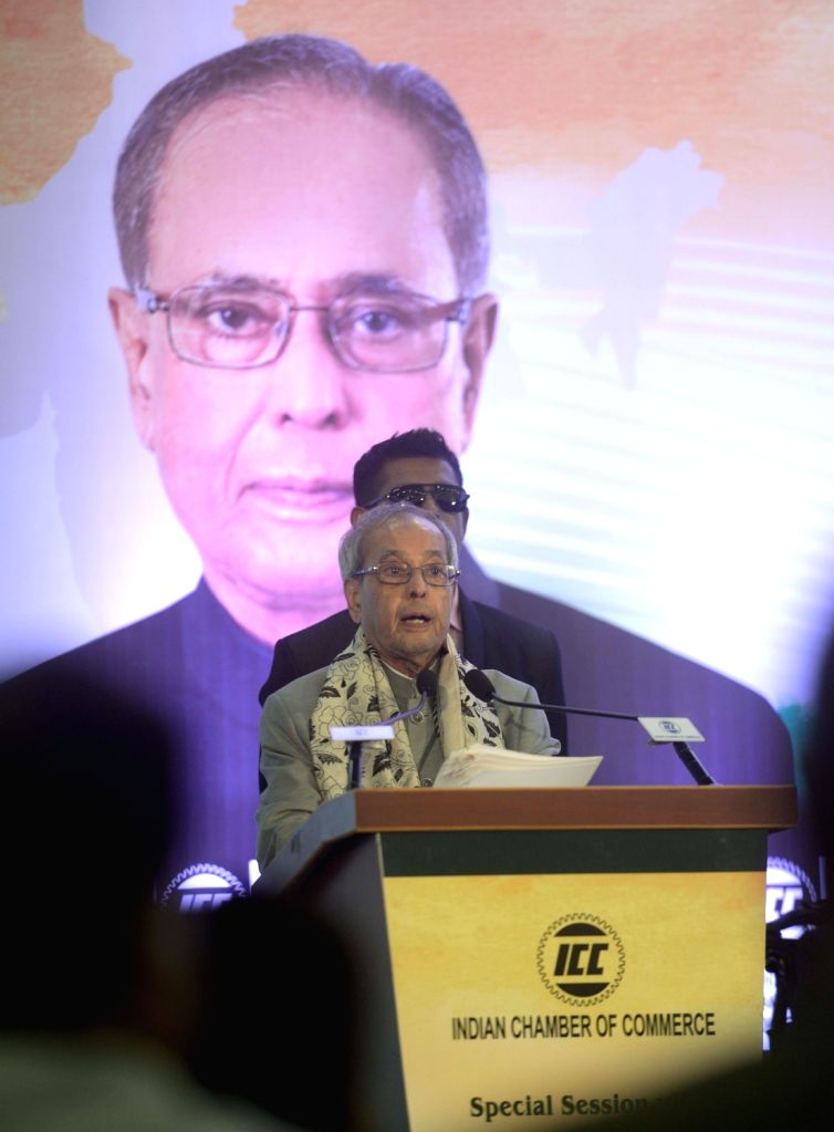 Former President Pranab Mukherjee addresses during a special session on 'People, Planet & Profit' (PPP) organised by Indian Chamber of Commerce in Kolkata on July 26, 2018. - Pranab Mukherjee